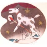 """Peter Barger Art Dog hand colored etching #33/90 image size 10.5"""" x 11.5"""" paper size 15"""" x 16"""" $150"""
