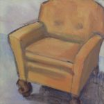 "Terry Wise Club Chair oil on panel 8"" x 8"" $275"