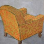 "Terry Wise Patterned Club Chair oil on panel 8"" x 8"" $275"