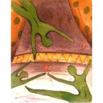 """Peter Barger The Performance hand colored etching #18/90 image size 7"""" x 5.5"""" paper size 12.5"""" x 10.5"""" $95"""